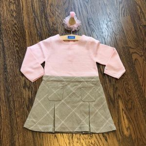 Jacadi girls sweater top pleated bottom dress